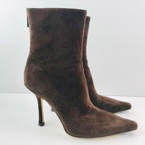 Jimmy Choo Brown Suede Ankle Heels Boots